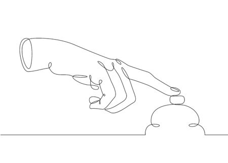 Continuous one line drawing hand palm fingers gestures. Gesture call reception Banco de Imagens