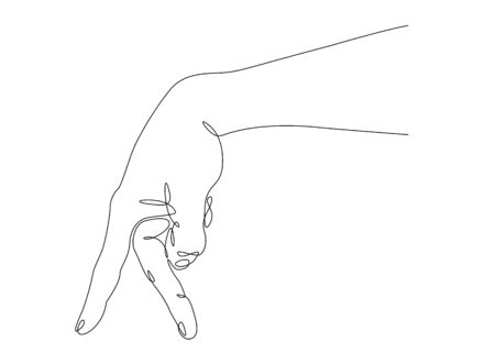 Continuous one line drawing hand palm fingers gestures. Fingers like legs