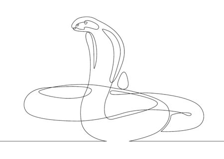 Continuous one line drawing snake cobra Archivio Fotografico - 134533666
