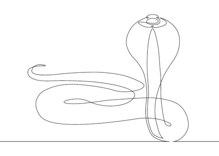 Continuous one line drawing snake cobra Stock Photo