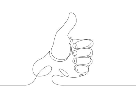 Continuous one line drawing hand palm fingers gestures. Hand showing great sign Banco de Imagens