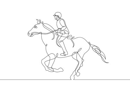 Continuous one line drawing rider on horseback