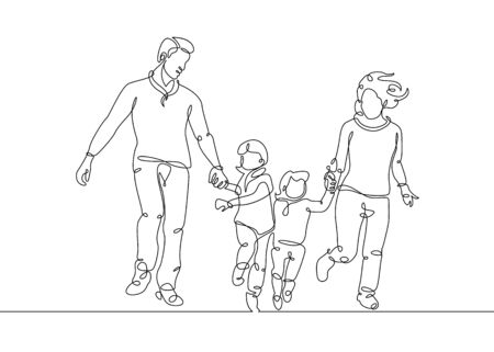 Continuous one line drawing of happy family running Zdjęcie Seryjne