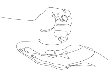 Continuous one line drawing hand palm fingers gestures.Fist in the palm Banco de Imagens