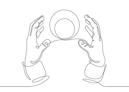 Continuous one line drawing hand palm fingers gestures.Hands with a crystal magic ball Banco de Imagens