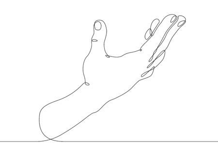 Continuous one line drawing hand palm fingers gestures. Palm open gesture Banco de Imagens