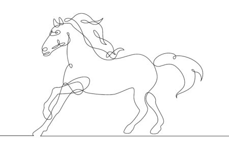 Continuous one line drawing horse