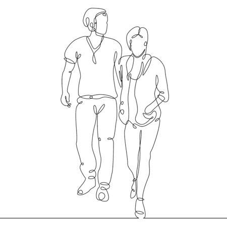 continuous line drawing of young couple, together happy older couple walking