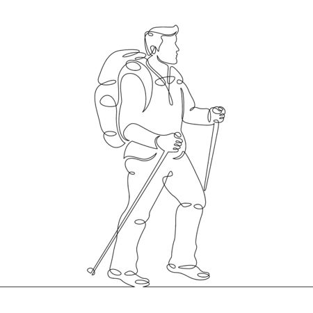 Continuous single one drawn line of the tourist character Nordic walking,climbing,climber,hike,walking sticks,mountaineer