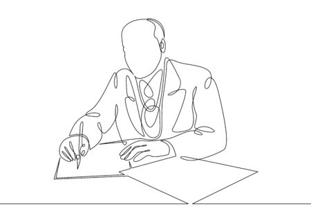 Continuous one single line drawn character politics of business coach speaking before audience. Political negotiations, the signing of an agreement, a contract.