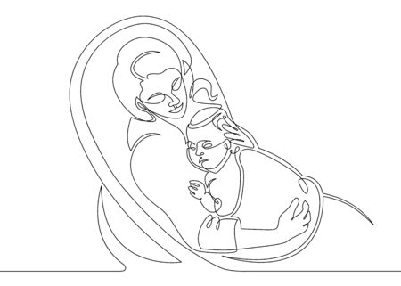 Logo with mother holding her baby. Continuous line drawing vector illustration. sleeping on pillow - single line drawing.
