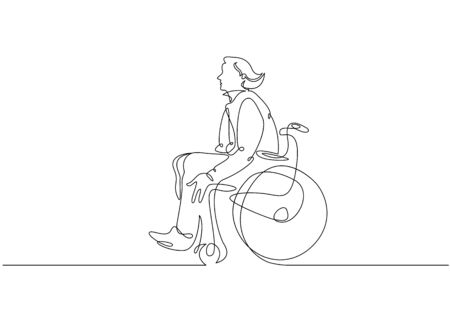 Continuous one line drawing. Disabled man on wheelchair enjoy with moving. Vector illustration total editable, choose thickness and place of line 版權商用圖片