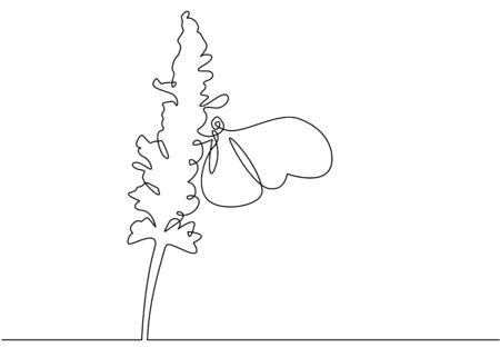 Beautiful flower  with butterfly. Continuous one line sign drawing. Vector illustration