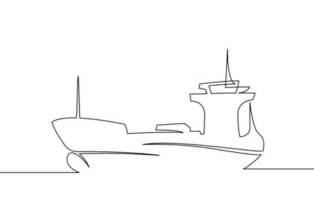Continuous one drawn line cargo ship silhouette