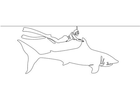 Continuous single drawn one line of a scuba diver with a camera and a shark under the water