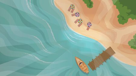 color vector image of motor boats and beach top view