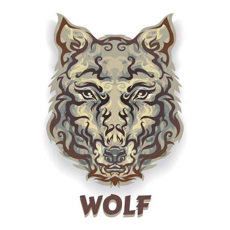 Vector color image of a wolfs head pattern, translucent coat. Logo wild animal print, printing and design.
