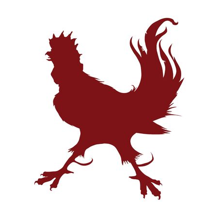 Vector isolated silhouette fiery rooster Chinese zodiac sign in 2017 Foto de archivo - 134891595