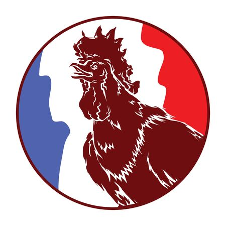 vector image of a rooster flag France logo on a round background sign symbol Foto de archivo - 134891597