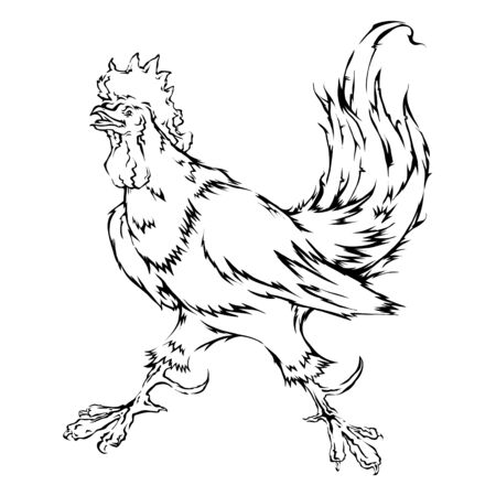 Vector isolated line loop fire rooster Chinese zodiac sign in 2017 Foto de archivo - 134891614