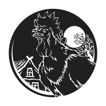 Vector isolated silhouette fiery rooster Chinese zodiac sign in 2017 on a round background sunrise in nature Foto de archivo - 134891615