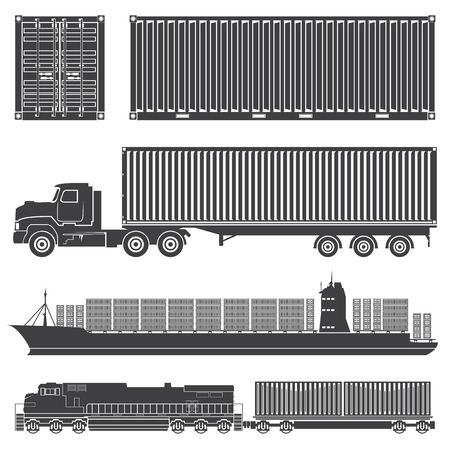 set of isolated silhouettes of the container train, locomotive, wagon with containers, trucks, and merchant ships with a container vessel. Transport logistics transportation of cargo in containers.