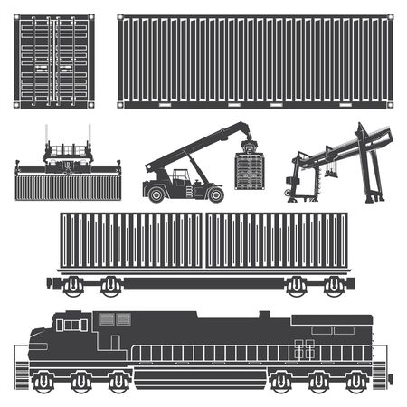set of isolated silhouettes of the container, loaders, truck crane, train, locomotive, wagon with containers. Transport logistics transportation of cargo in containers.