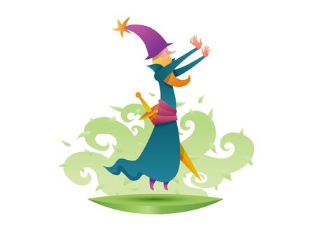 Cartoon character wizard magician alchemist in costume. The sorcerer conjures, levitate, magic sword. Green floral background.