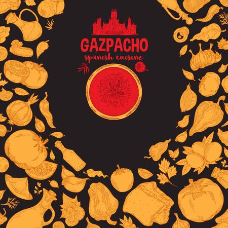 Gazpacho. Ingredients. The view from the top.Cooking soup with vegetables. illustration of Spanish cuisine.Red and yellow on a black background Stockfoto