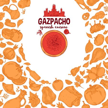 Gazpacho. Ingredients. The view from the top.Cooking soup with vegetables. illustration of Spanish cuisine.Red and yellow color on a white background
