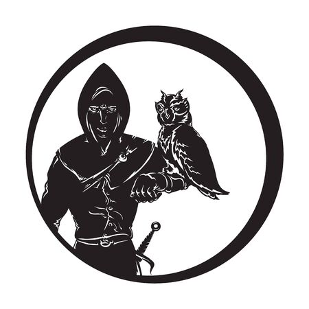 image of a medieval huntsmen in hoodie and a dagger on his arm sits an owl