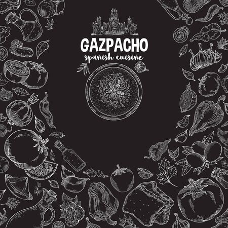 Gazpacho. Ingredients. The view from the top.Cooking soup with vegetables. illustration of Spanish cuisine. White outline on black background