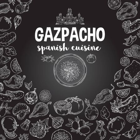 Vector.Gazpacho. Ingredients. The view from the top.Cooking soup with vegetables. illustration of Spanish cuisine. White outline on black background