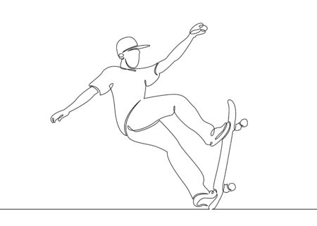 One continuous single drawn line, the guy  skater, the character skates on a skateboard. 版權商用圖片