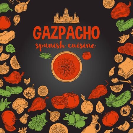 Gazpacho. Ingredients. The view from the top.Cooking soup with vegetables. illustration of Spanish cuisine.Red and yellow green on a black background