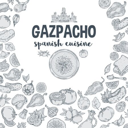 Vector.Gazpacho. Ingredients. The view from the top.Cooking soup with vegetables. illustration of Spanish cuisine.Black contour on white background