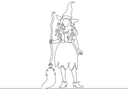 One continuous drawn single line of a witch halloween with a broom. Autumn holiday Halloween, magic, horror, fairy tale, magic characters, celebration, costume, woman, october, party, witchcraft, dark, silhouette, mystery.