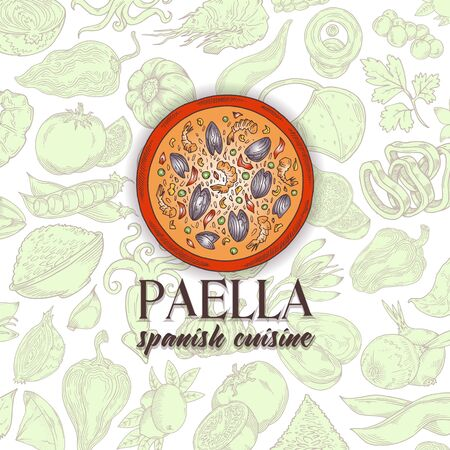 Vector image.Paella Ingredients .Cartoon set doodles hand drawn spain food illustration. Line art detailed, with lots of objects background.Red and yellow green color on a white background