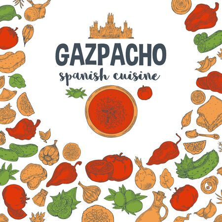 Vector.Gazpacho. Ingredients. The view from the top.Cooking soup with vegetables. illustration of Spanish cuisine.Red and yellow green color on a white background Stockfoto
