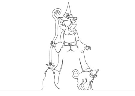 One continuous drawn single line of a witch halloween with a broom and cat. Autumn holiday Halloween, magic, horror, fairy tale, magic characters, celebration, costume, woman, october, party, witchcraft, dark, silhouette, mystery. Zdjęcie Seryjne