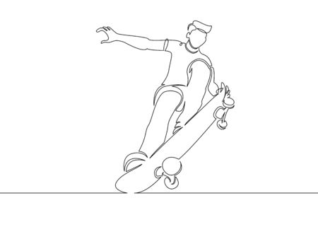 One continuous single drawn line of the skateboarder character in the jump. The concept of sports extreme illustration. Skateboarding.