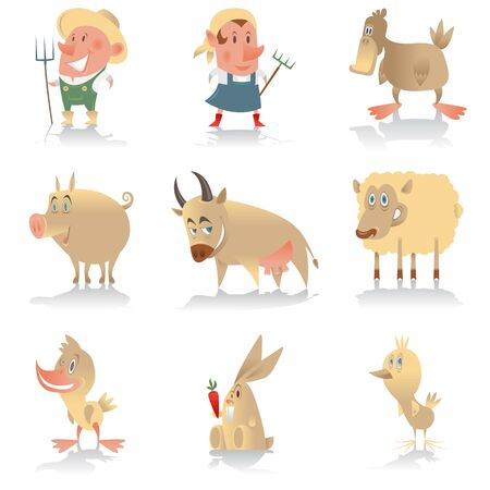 A colored isolated set of animated farm characters. Cow pig duck duckling chicken sheep rabbit farmer.