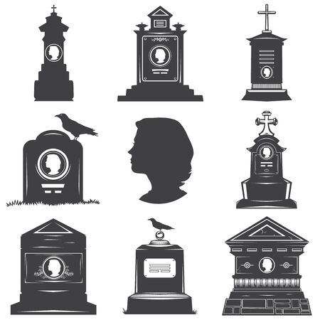 Set of images of silhouettes of women's graves gravestones monuments. Female head silhouette on the stone gravestones. Image crosses crow. Stock Photo