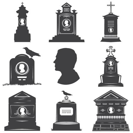 Set of images of silhouettes of male graves gravestones monuments. Male head silhouette on the stone gravestones. Image crosses crow.