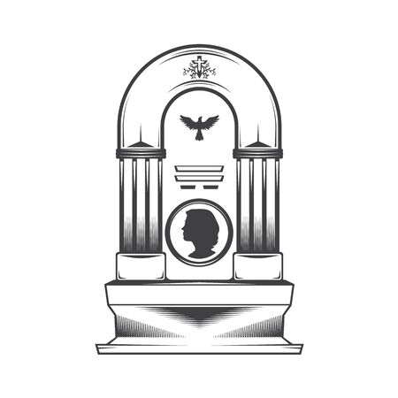 image of a female obelisk grave headstone. Silhouette of a female head profile. Cross pattern and silhouette symbol dove bird. Stock Photo