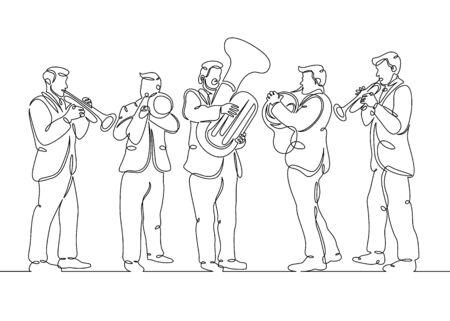 Un quintetto maschile di ottoni maschili con una singola linea disegnata continua. Il concetto di ensemble musicale, concerto, performance.