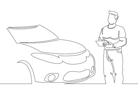 One continuous single drawn line art doodle mechanic, car, garage, service, auto, repair, vehicle, shop, engine, workshop .Isolated image of a hand drawn outline on a white background. Foto de archivo