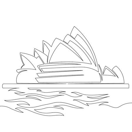 Thin one continuous line illustration drawing Australia Sydney Opera House