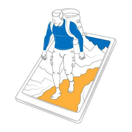 Turista con uno zaino che si arrampica su una montagna sullo schermo dello smartphone. Scarabocchio di minimalismo di linea d'arte disegnata singola continua isolato piatto illustrazione contorno piatto colore. Colore giallo blu Vettoriali