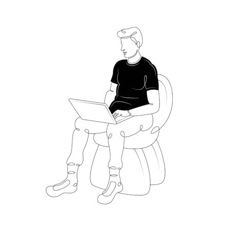 How to draw a man sitting in a chair